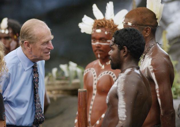 Royalty - Duke of Edinburgh talks to Aboriginal performers - Cairns