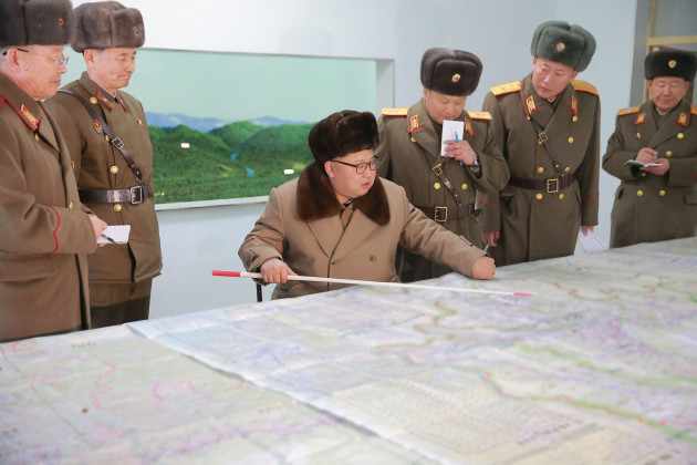 Kim Jong Uni inspecting the Headquarters of Large Combined Unit 380 of the KPA - Pyongyang