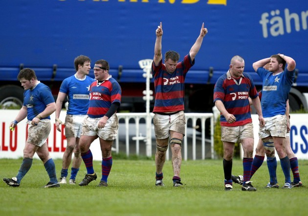 Andy Wood celebrates Clontarf's win