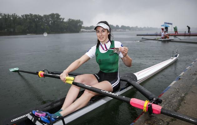 Denise Walsh celebrates winning silver