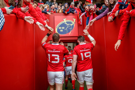 Jaco Taute and Peter O'Mahony leave the field