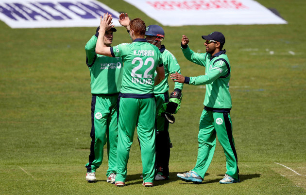 Kevin O'Brien celebrates taking a wicket with his teammates