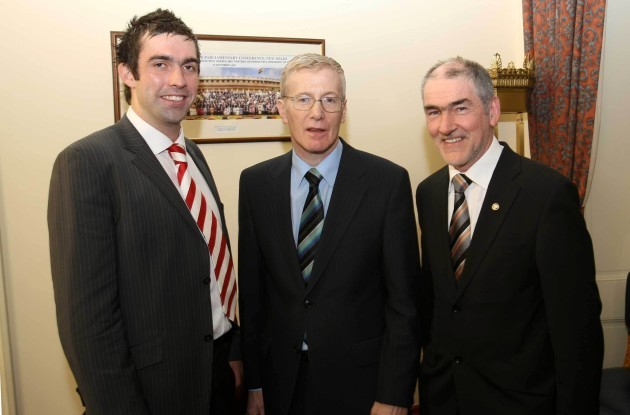 Joe McMahon, Gregory Campbell and Mickey Harte