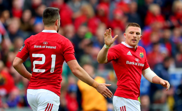 Conor Murray celebrates with try score Andrew Conway