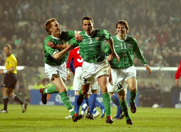 Alan Maybury and Kevin Kilbane celebrate with goalscorer Ian Harte