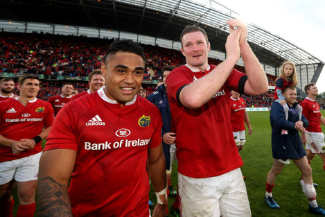 Donnacha Ryan celebrates after the game with Francis Saili
