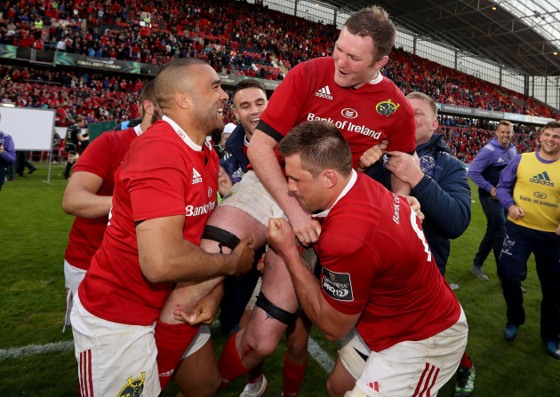 Simon Zebo celebrates after the game with Donnacha Ryan and CJ Stander