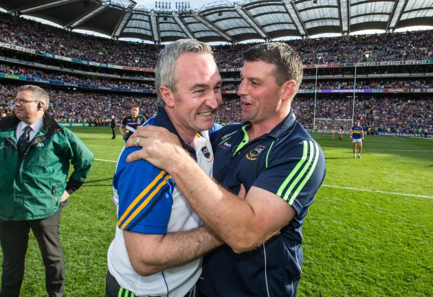 Michael Ryan celebrates with Denis Leamy