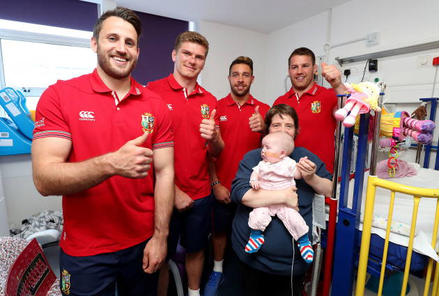 Tommy Seymour, Owen Farrell, Rhys Webb and Sean O'Brien with Hannah Donohoe and Mum Lucy