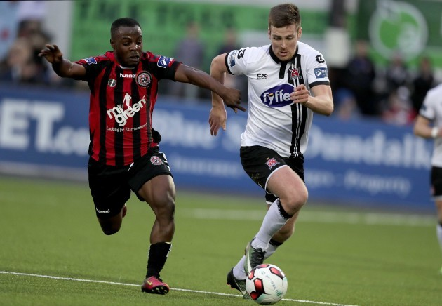 Patrick McEleney with Fuad Sule