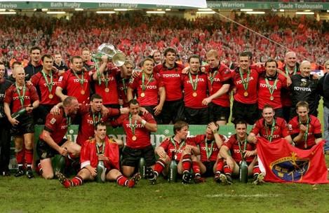 Munster players celebrate winning the Heineken European Cup Final