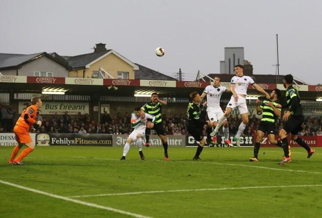Ryan Delaney scores a goal