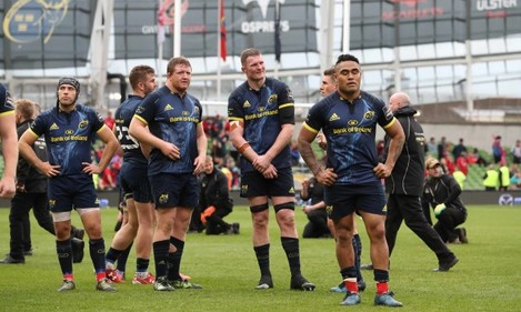 Duncan Williams, Stephen Archer, Donnacha Ryan and Francis Saili dejected after the game