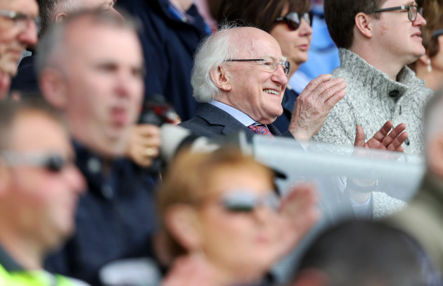 Michael D Higgins attends todays game