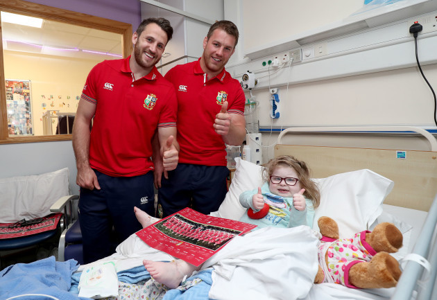 Tommy Seymour and Sean O'Brien with Lexie O'Riordan