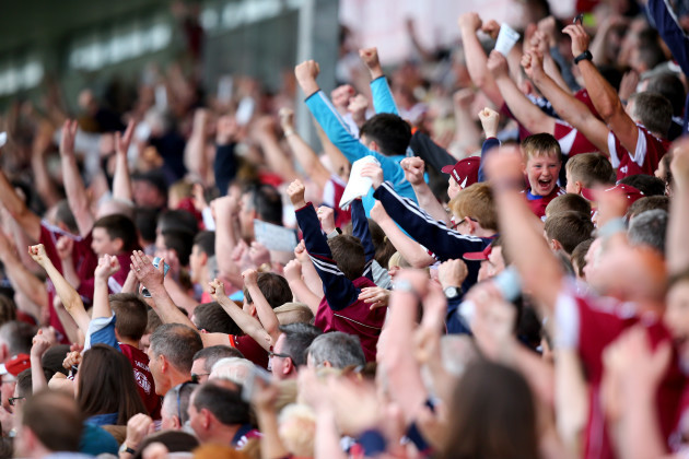 Galway fans celebrate the opening goal