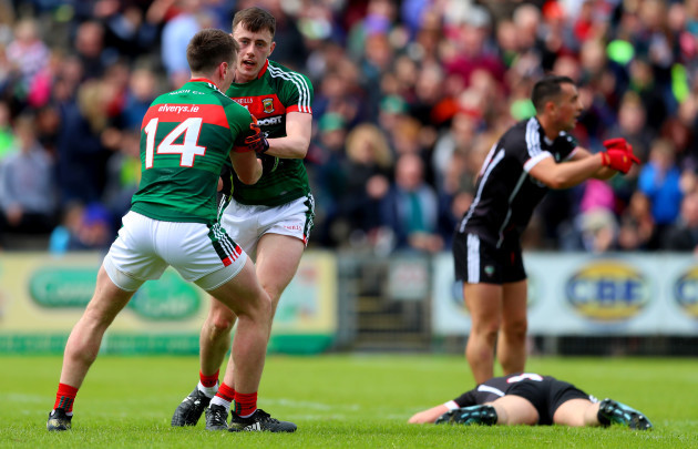 Cillian O'Connor celebrbates with Diarmuid O'Connor after he scored the opening goal