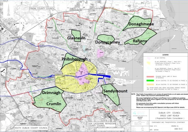 30kmh Phase Two areas in Green