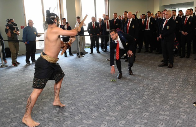 Captain Sam Warburton accepts the Maori challenge on arrival