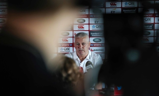 Head Coach Warren Gatland during the press conference