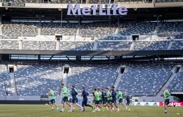 A view of Ireland training in the MetLife Stadium