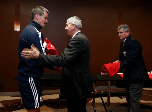 Sir Ian McGeechan presents Jonathan Sexton with his jersey