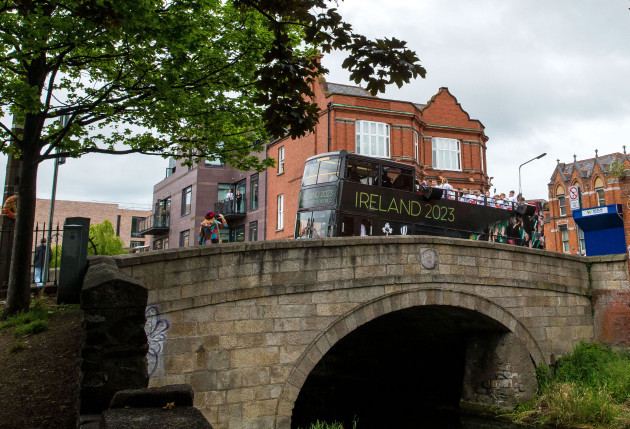 A view of the parade as it makes it's way over Baggot Bridge