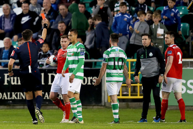 Graham Burke is sent off by Robert Hennessy