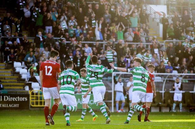 Graham Burke celebrates scoring a goal
