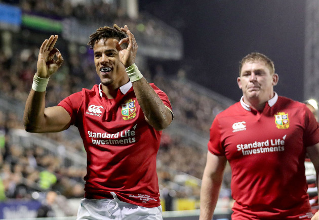 Anthony Watson celebrates scoring their first try