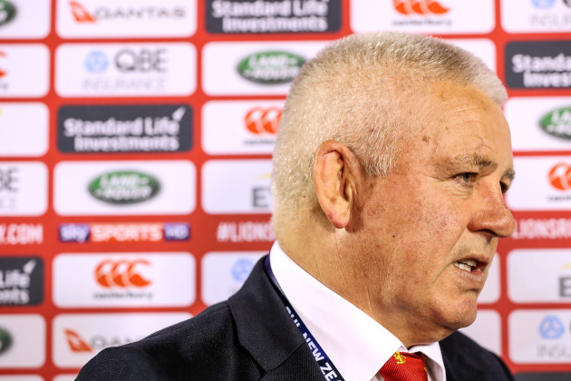 Warren Gatland is interviewed after the game