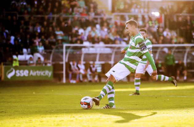 Graham Burke scores a goal