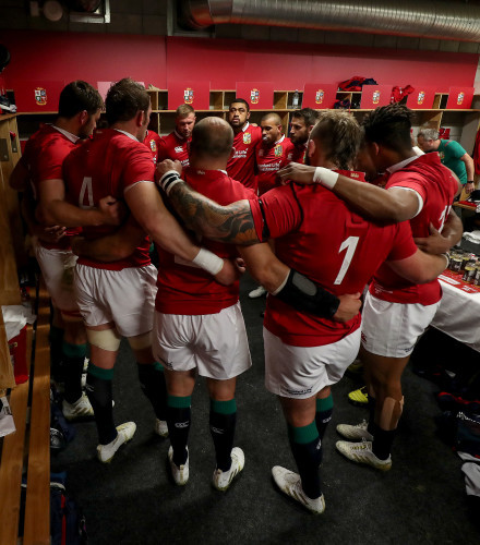 British  Irish Lions team huddle