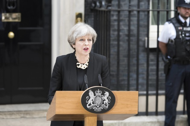 Theresa May, Prime Minister, gives a statement on Sunday morning after London Terror Attack. London, UK 04/06/2017