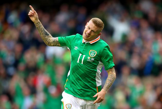 James McClean celebrates scoring his sides third goal