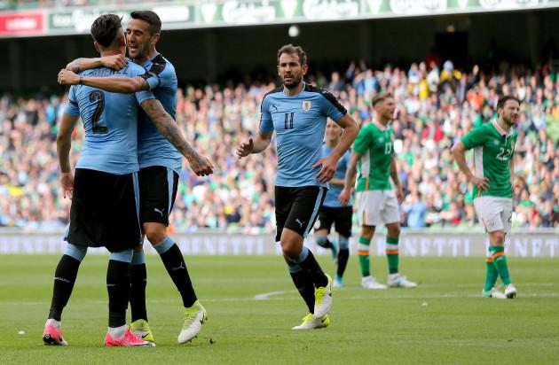 Jose Gimenez celebrates his goal