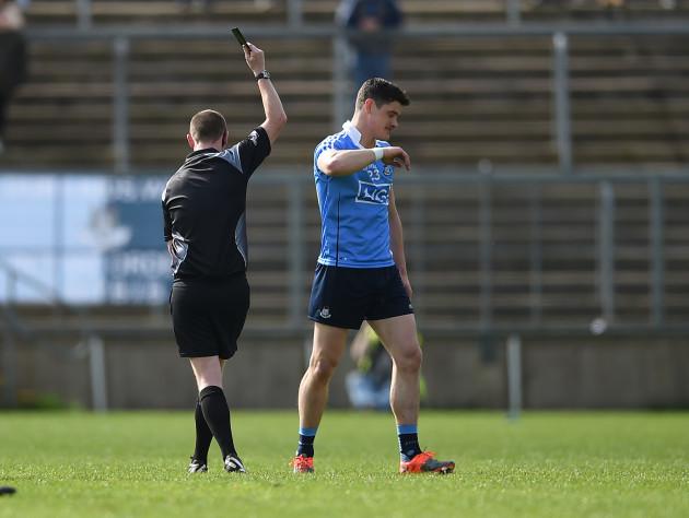Diarmuid Connolly is shown a black card by Joe McQuillan