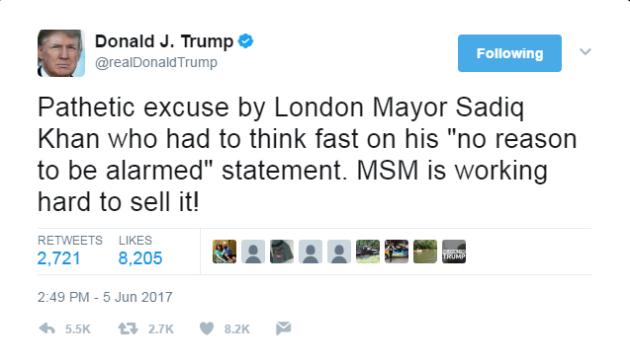 Donald Trump Sadiq tweet