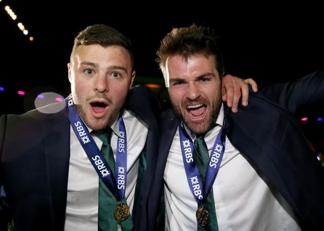 Robbie Henshaw and Jared Payne celebrate