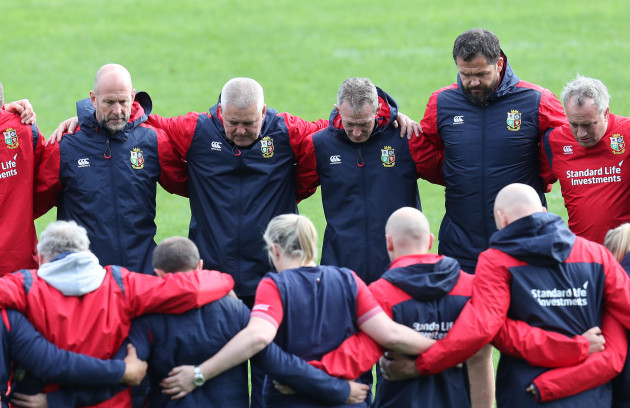 A minutes silence for the victims of the London  terrorist attack during the Captains Run Phil Pask Warren Gatland Rob Howley Andy Farrell and Bobby Strigeon