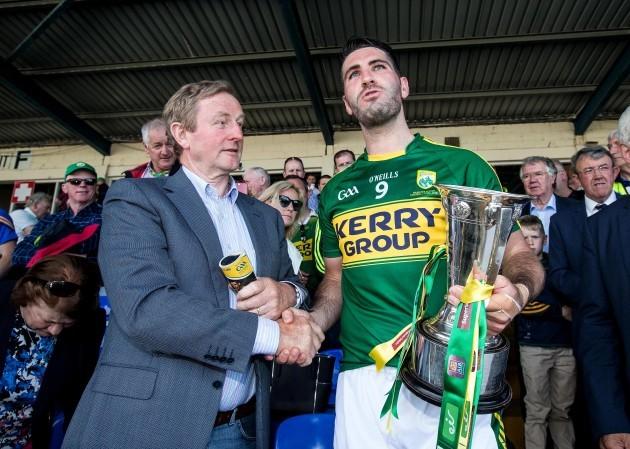 Enda Kenny congratulates Kerry captain Bryan Sheehan