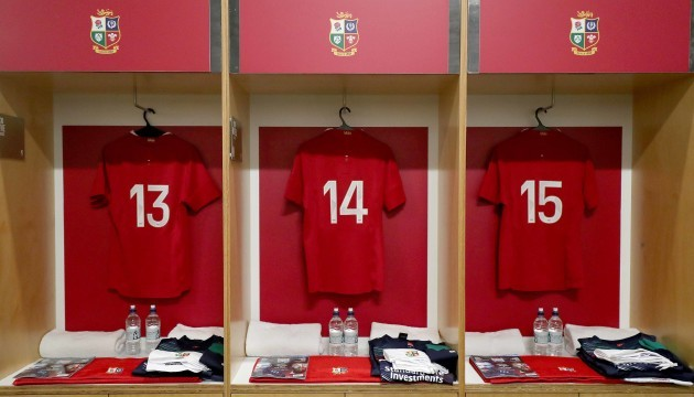 A view of jersey's in the changing room