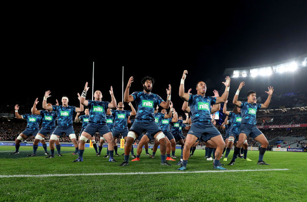 The Blues perform a haka before the game