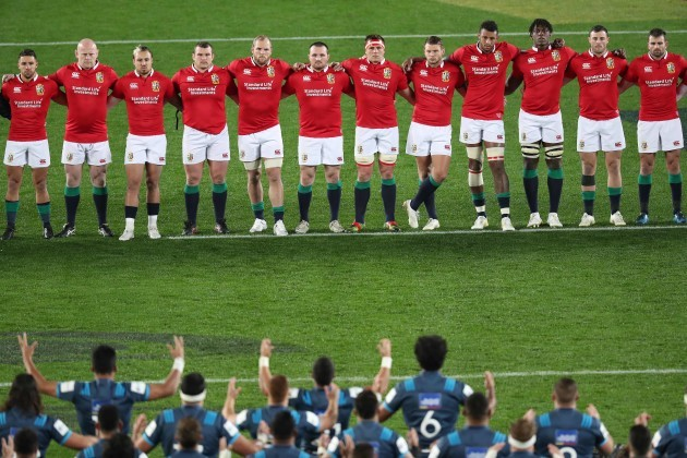A view of the Lions team during the Blues Haka