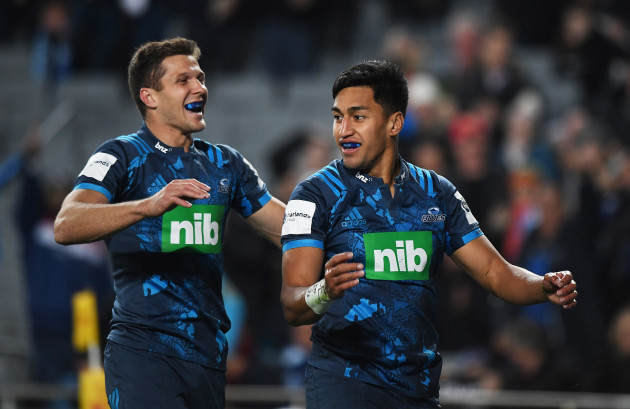 Rieko Ioane celebrates scoring their first try with Matt Duffie