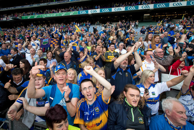 Tipperary fans celebrate after the game