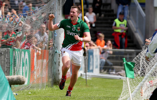 Cillian O'Connor celebrates setting up a goal for Lee Keegan