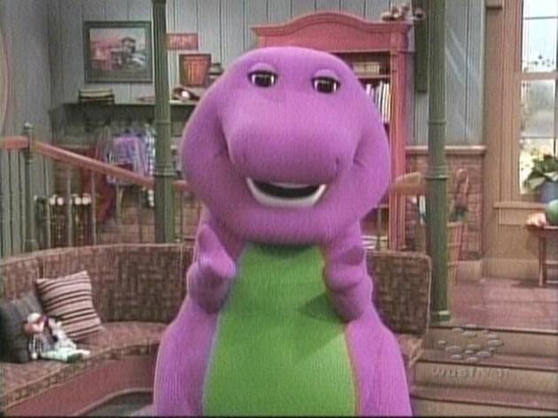 Adult barney costume dinosaur purple shall