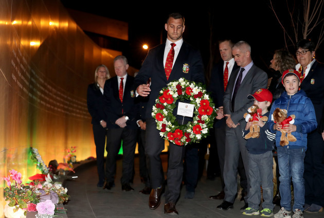 Sam Warburton places a wreath at the Canterbury Earthquake National Memorial in Christchurch