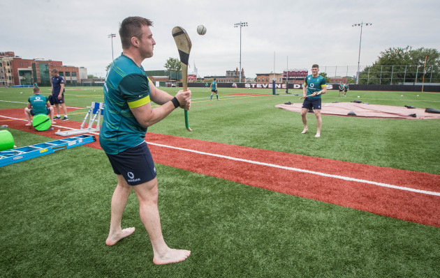 Niall Scannell and Jack O'Donoghue try their hand at hurling